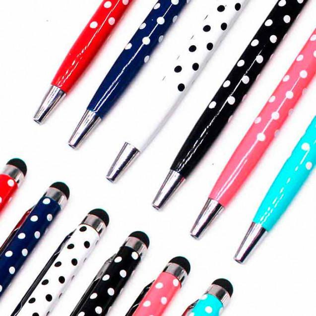 Bolígrafo, lápiz táctil de lunares en color blanco