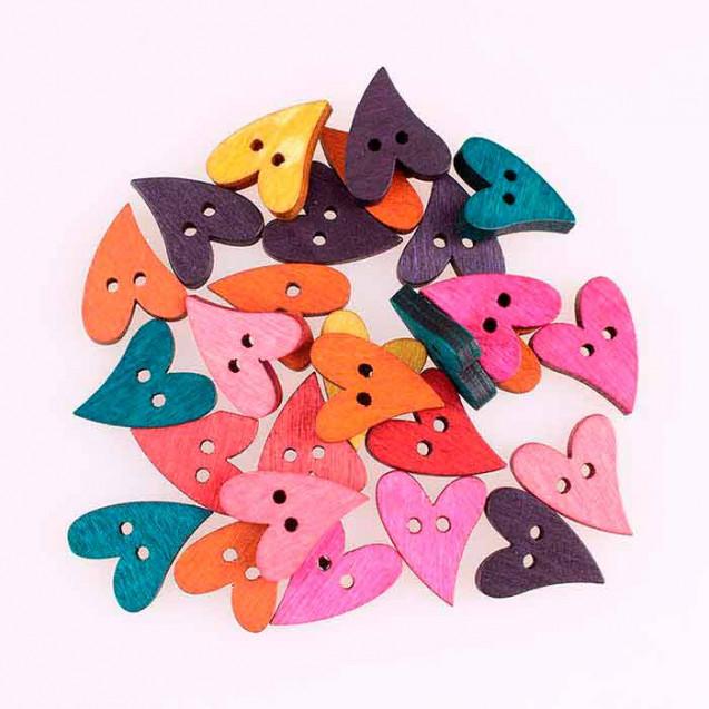 Botones corazón artesanal, de madera, en paquete de 6 unidades