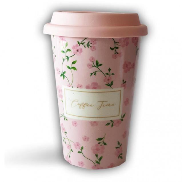 Taza take away bloom en tonos rosa